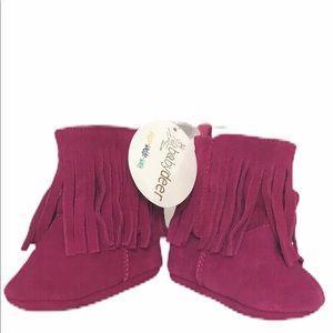 NEW Baby Deer Pink Leather Velcro Tassel Booties
